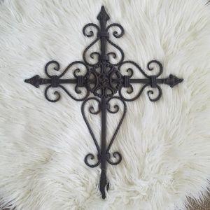 Large Decorative Wrought Iron Cross